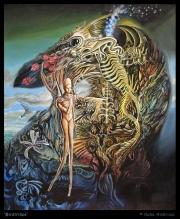 'Birdtribes' acrylic on canvas