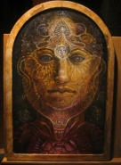 'Arcturian Guardian' oil and egg tempera on icon board 20X30CM - SOLD