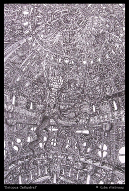 'Octopus Cathedral' ballpoint pen on paper