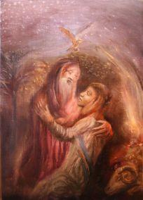 'Abraham & Isaac' (Akedah) oil on wood SOLD