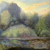 'Alte Donau Evening' oil on linen 40x40cm €750 framed, free shipping worldwide
