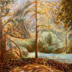 'Play of the Light' (Botanical Gardens Vienna) oil on linen 40x40cm €750 framed, free shipping worldwide