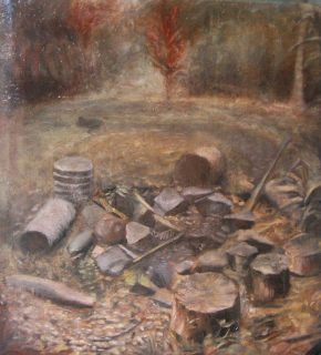 'Kuranda Fireplace' oil on cardboard - plein air sketch 16x20cm approx €400 - framed, free shipping worldwide