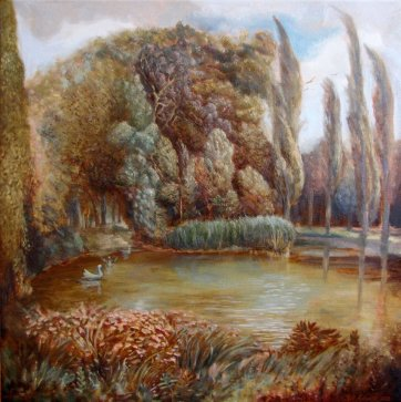 'Wind on the Lake' (Prater) oil on linen 40x40cm €750 framed - free shipping worldwide