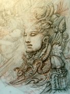 'Mayan Flute' chalk & ink on paper